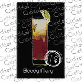 Cocktail Bloody Mery with price on chalk board. Template elements Royalty Free Stock Photos