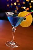 Cocktail blu in barra Fotografia Stock Libera da Diritti