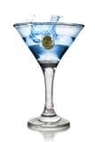 Cocktail blu dell'alcool con spruzzata Fotografia Stock Libera da Diritti