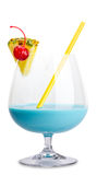 Cocktail blu della signora Fotografia Stock