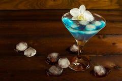 Cocktail blu servito con l'orchidea Fotografia Stock
