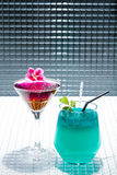 Cocktail with blue caracao and whisky Royalty Free Stock Photo