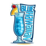 Cocktail Blue Hawaiian. Vector illustration of alcohol Cocktail Blue Hawaiian: fruit garnish on glass of tropical cocktail with blue curacao liquor, logo with Royalty Free Stock Photos