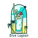 Cocktail blue lagoon flat card. Vector colorful icon of cocktail Blue Lagoon on background of beach. The icon in a frame with a cocktail name. EPS10 Royalty Free Stock Image