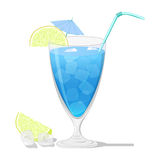 Cocktail Blue Lagoon. Blue Lagoon cocktail with a lemon slice  on white background Royalty Free Stock Image
