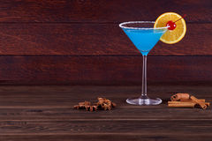 Cocktail Blue Lagoon. Light blue cocktail Stock Image