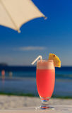 Cocktail on blue tropical beach Stock Image