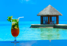 Cocktail with blur beach Stock Photo