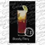Cocktail blutiges Mery mit Preis auf Kreidebrett Schablonenelemente Lizenzfreie Stockfotos