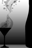 Cocktail and bottle. Elegant illustration on martini glass and bottle with graphic element who symbolize cocktail or champagne. Lot of copy space for message and Stock Image