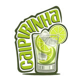 Cocktail Caipirinha. Vector illustration of alcohol Cocktail Caipirinha: full glass with transparent cocktail, sliced lime, cubes of ice, logo with green title Stock Photos