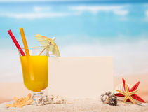 Cocktail with card background Royalty Free Stock Photography