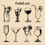 Cocktail card. Hand sketched alcoholic beverages glasses. Vector set of drinks illustrations, vodkatini, champagne etc. Royalty Free Stock Image