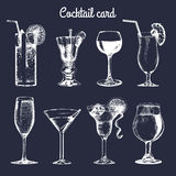 Cocktail card. Hand sketched alcoholic beverages glasses. Vector set of drinks illustrations, vodkatini, champagne etc. Cocktail card. Hand sketched alcoholic Royalty Free Stock Photo