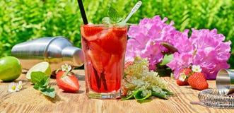 Cocktail casalingo della fragola fotografie stock