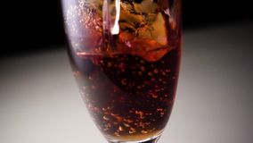 Cocktail champagne with pomegranate juice stock footage