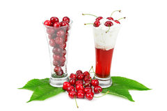 Cocktail  and cherries Royalty Free Stock Photography