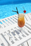 Cocktail with cherry on the beach Stock Photo