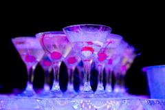 Cocktail with cherry and dry ice on dark background Royalty Free Stock Image