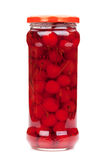 Cocktail cherry glass jar Stock Image