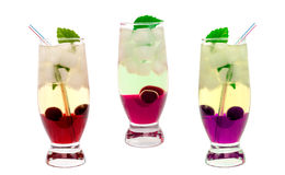Cocktail with cherry and mint Stock Photo