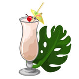 Cocktail with cherry, straw, umbrella and leaf Stock Photography