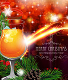 Cocktail on Christmas background Stock Photos