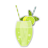 Cocktail citrus background. Glass of drink with tubule. Illustra Stock Image