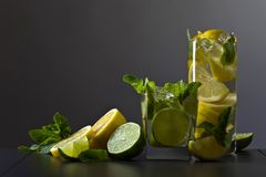 Cocktail with citrus and peppermint. Royalty Free Stock Photo