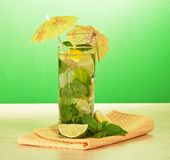 Cocktail from citrus, spearmint and napkin Royalty Free Stock Photo