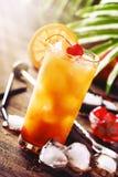 Cocktail classique de lever de soleil de tequila avec la tequila, le sirop de grenadine, l'orange et les gla?ons argent?s Compteu photographie stock
