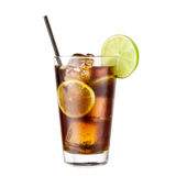 Cocktail Coca Cola lime isolated on white background. Classic alcohol cocktail Stock Photos