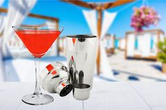 Cocktail. Shaker cosmopolitan martini red manhattan  drink stock photo