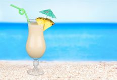 Cocktail. Pina colada drink pineapple tropical drink drinking umbrella Royalty Free Stock Image