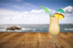 Cocktail. Pina colada drink pineapple tropical drink drinking umbrella Stock Photography