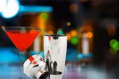 Cocktail. Shaker cosmopolitan martini red manhattan  drink stock photography