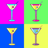 Cocktail. S are in four squares of different color. Illustration Stock Images