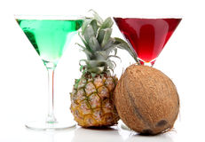 Cocktail and cocoanut. Cocktail and pineapple on white background stock photography