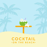 Cocktail in coconut and bar table on a palm silhouette background. Tropical vacation illustration. vector illustration