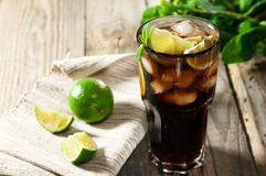 Cocktail with cola and ice Stock Photo