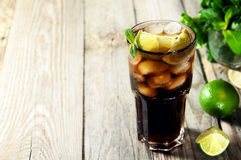 Cocktail with cola and ice Royalty Free Stock Images