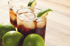 Cocktail with cola and ice royalty free stock photo