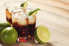 Cocktail with cola and ice Royalty Free Stock Photography