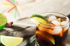 Cocktail with cola and ice Stock Images