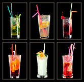 Cocktail collection. On black background Stock Photos
