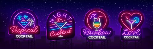 Cocktail collection logos in neon style. Collection of neon signs, Design template on the theme of drinks, alcoholic. Beverages. Bright advertising for cocktail royalty free illustration