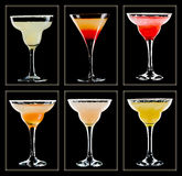 Cocktail collection. Margarita cocktail collection isolated on black background Stock Images