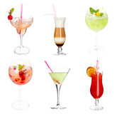 Cocktail collection. Set of alocohol coctails isolated on white background Royalty Free Stock Photo