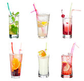 Cocktail collection. Set of alocohol coctails isolated on white background Royalty Free Stock Photos