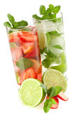 Cocktail collection: Strawberry and classic mojito Stock Photo